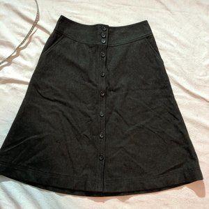 Banana Republic charcoal grey A-line wool skirt
